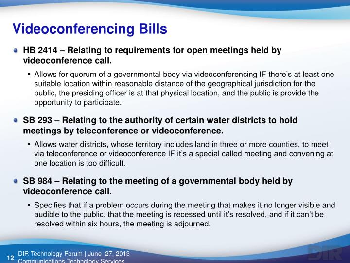 Videoconferencing Bills