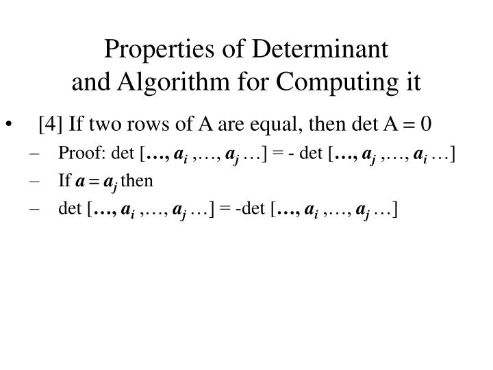 Properties of Determinant