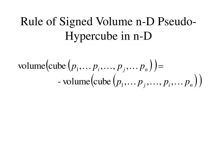 Rule of Signed Volume n-D Pseudo-Hypercube in n-D