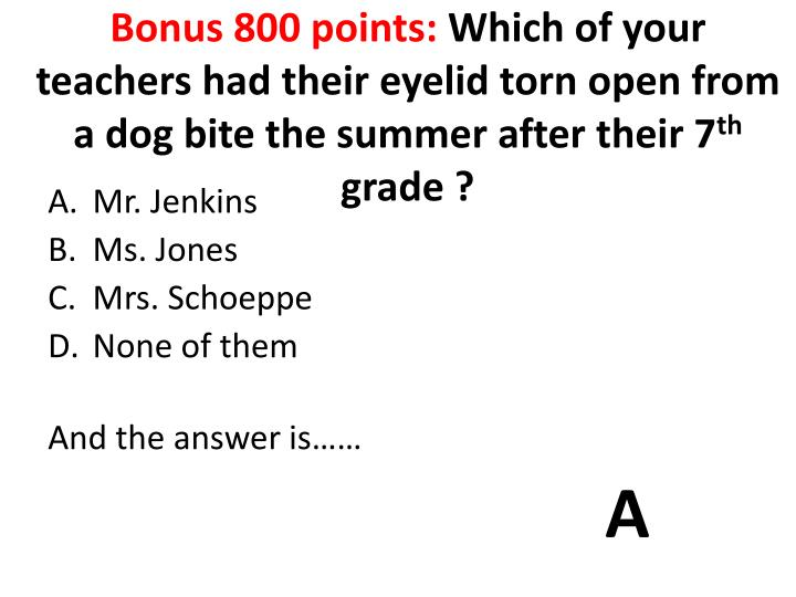 Bonus 800 points:
