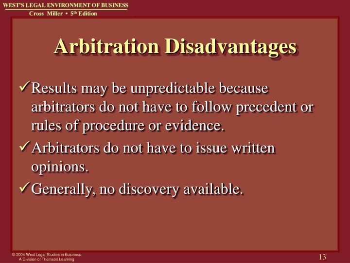 Arbitration Disadvantages