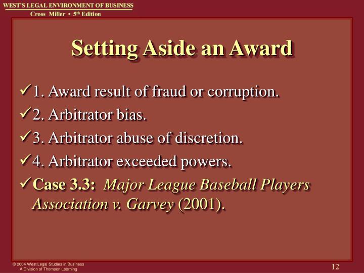 Setting Aside an Award