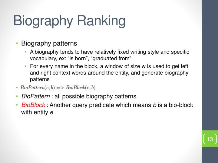 Biography Ranking
