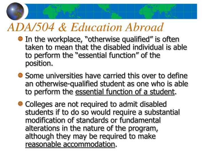 ADA/504 & Education Abroad