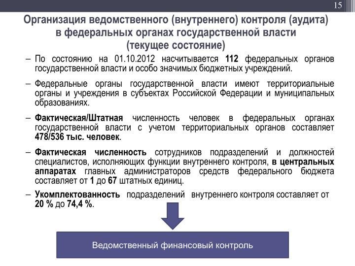 Организация ведомственного (внутреннего) контроля