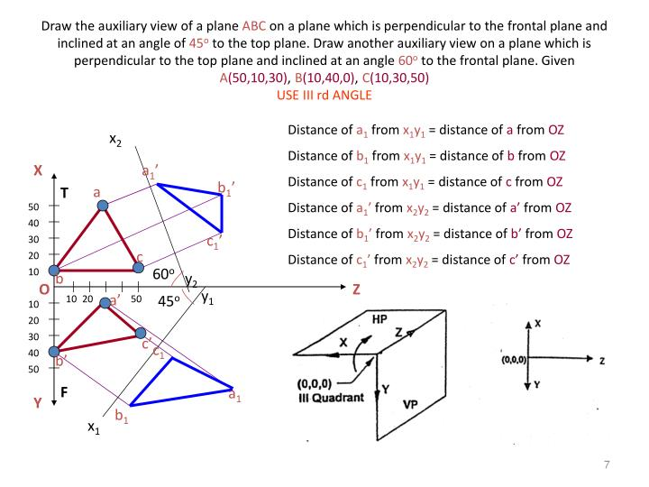 Draw the auxiliary view of a plane
