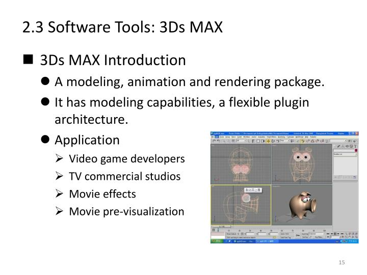 2.3 Software Tools: 3Ds MAX