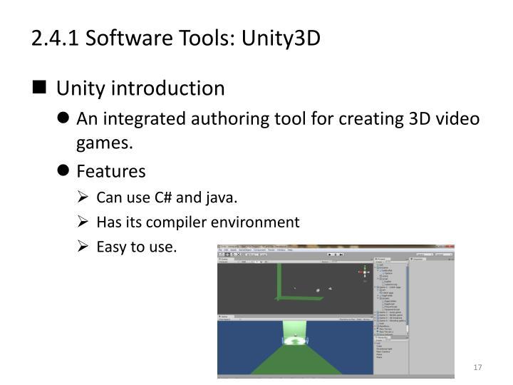2.4.1 Software Tools: Unity3D
