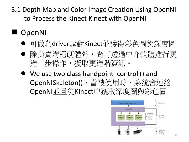 3.1 Depth Map and Color Image Creation Using OpenNI to Process the