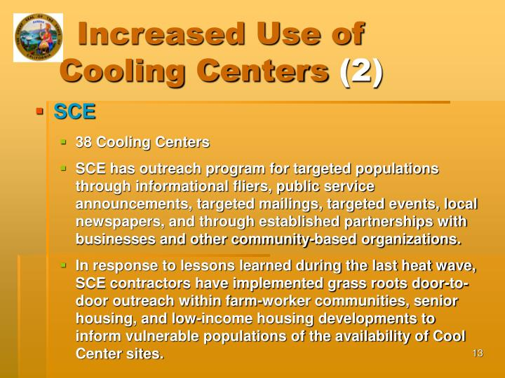 Increased Use of Cooling Centers