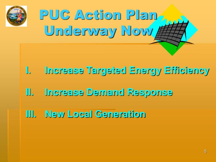 PUC Action Plan Underway Now