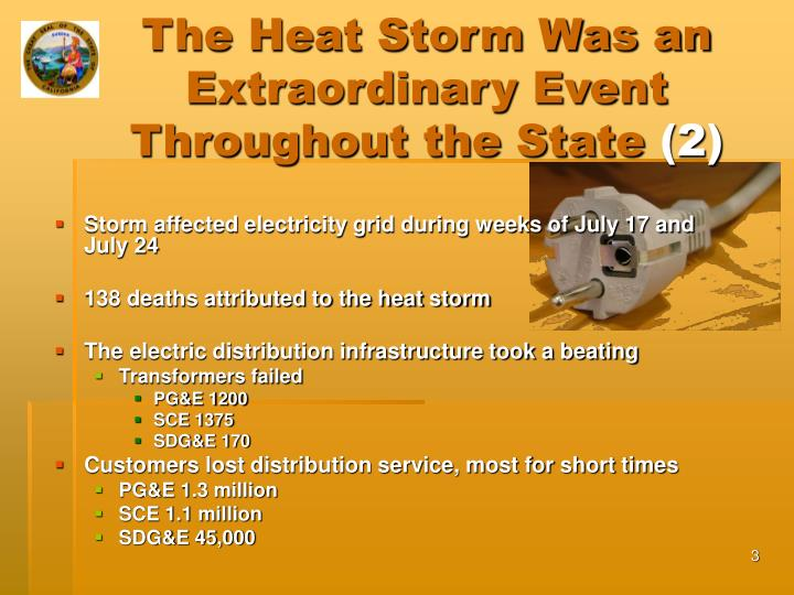 The heat storm was an extraordinary event throughout the state 2