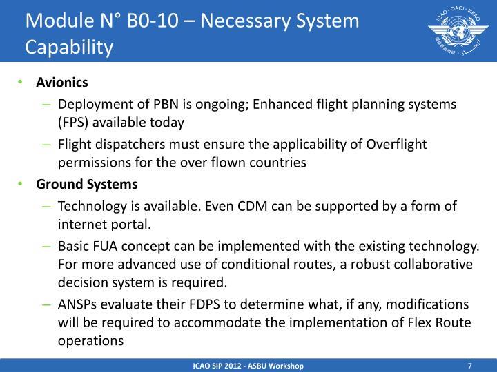 Module N° B0-10 – Necessary System Capability