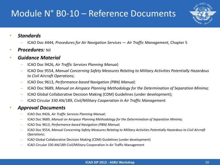 Module N° B0-10 – Reference Documents