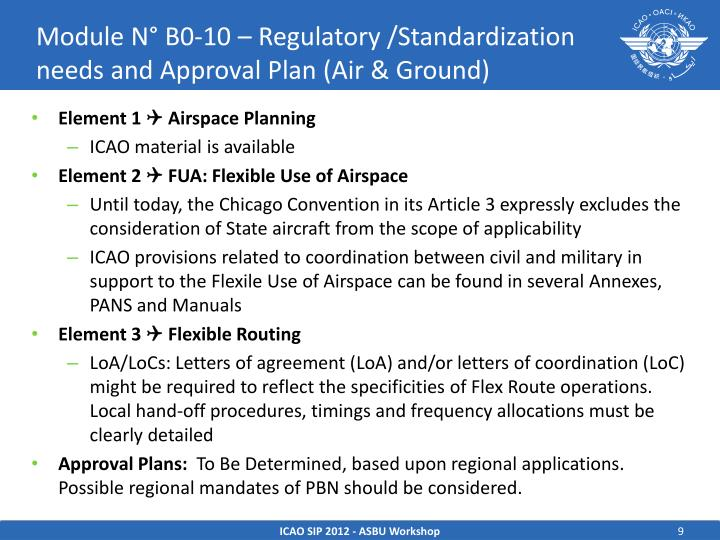 Module N° B0-10 – Regulatory /Standardization needs and Approval Plan (Air & Ground)