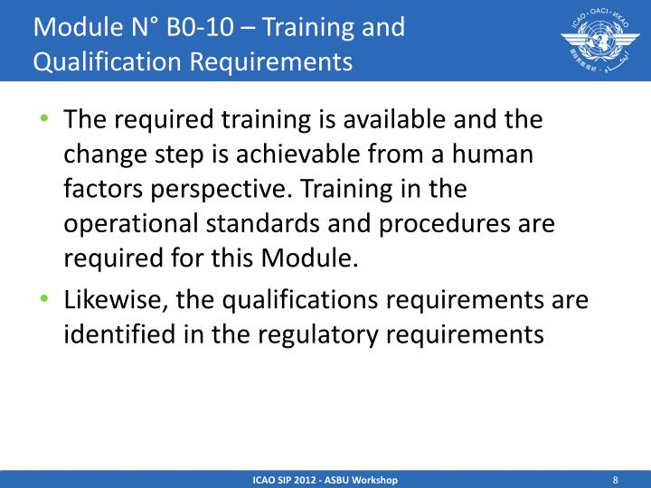 Module N° B0-10 – Training and Qualification Requirements
