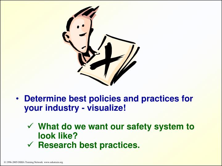 Determine best policies and practices for your industry - visualize!