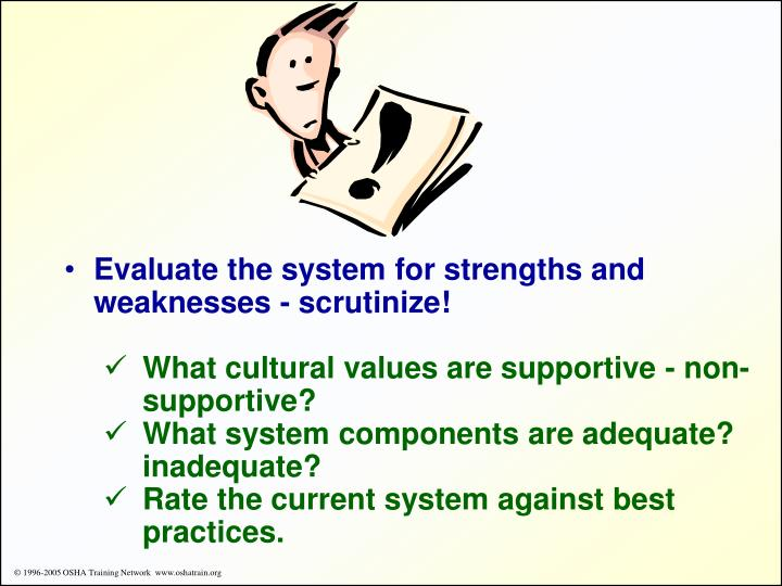 Evaluate the system for strengths and weaknesses - scrutinize!