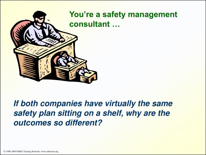 You're a safety management consultant …