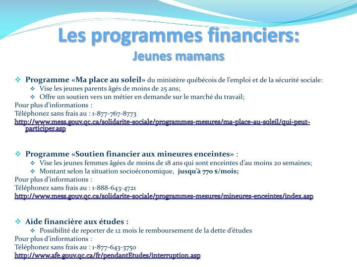 Les programmes financiers: