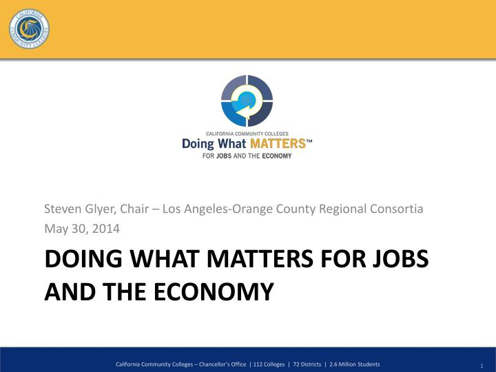Doing what matters for jobs and the economy