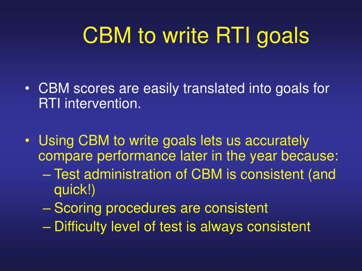 CBM to write RTI goals