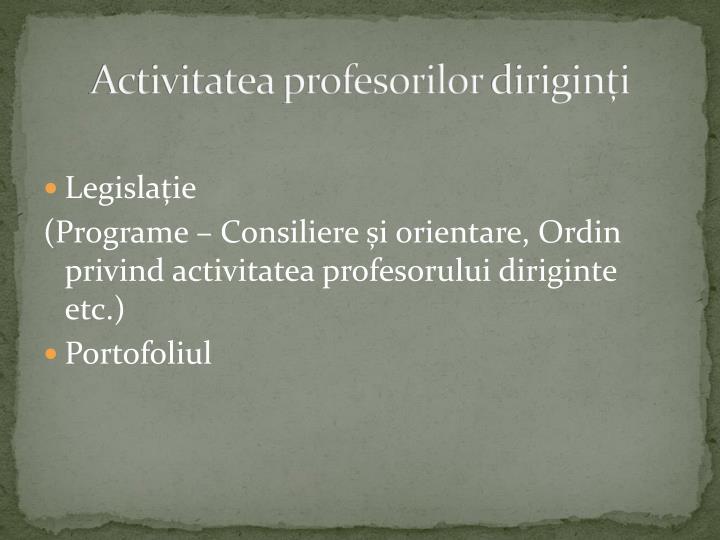 Activitatea profesorilor