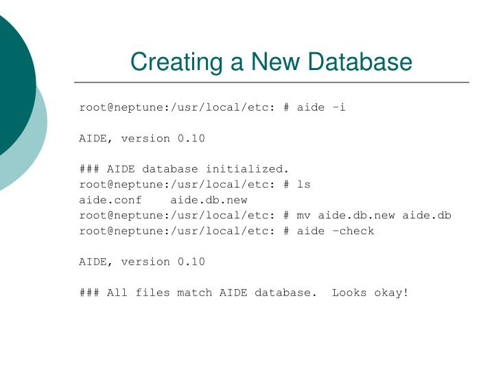 Creating a New Database
