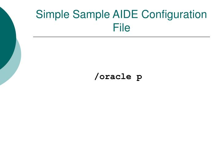 Simple Sample AIDE Configuration File