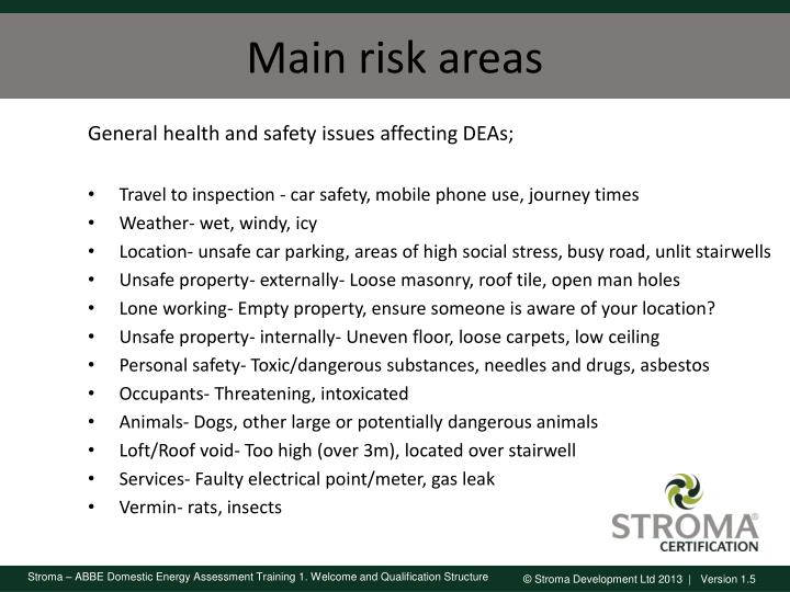 Main risk areas