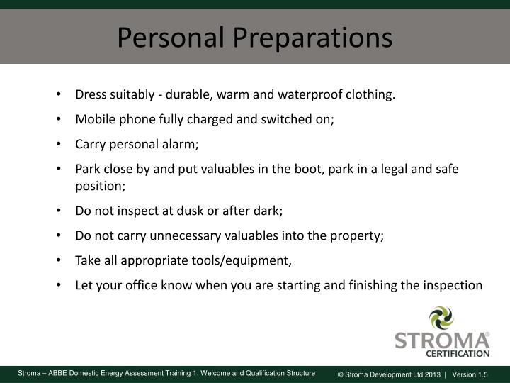 Personal Preparations