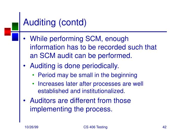 Auditing (contd)