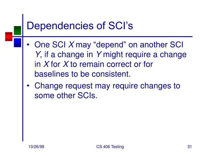 Dependencies of SCI's