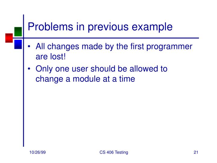 Problems in previous example