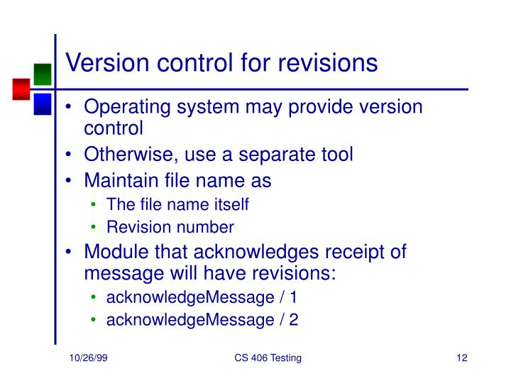 Version control for revisions