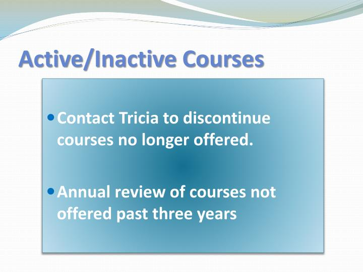 Active/Inactive Courses