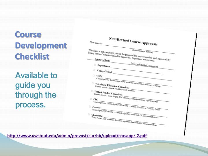 Course Development Checklist