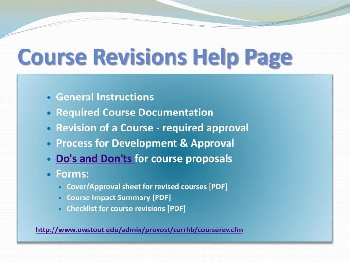 Course Revisions Help Page
