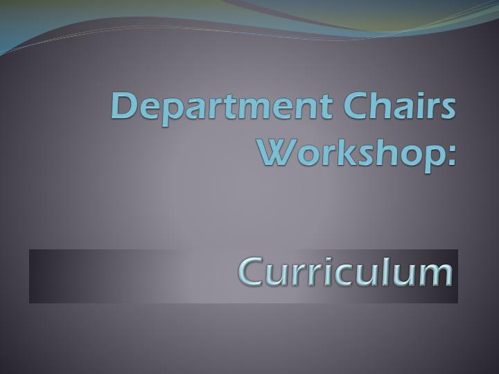 Department chairs workshop