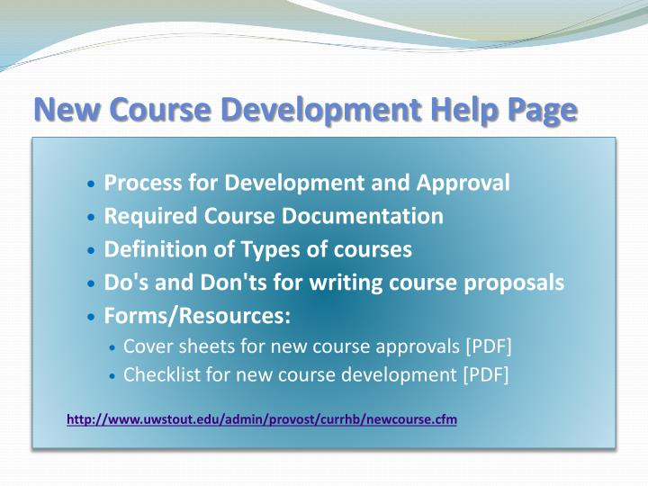 New Course Development Help Page