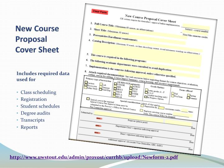 New Course Proposal Cover Sheet