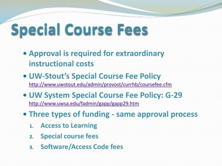 Special Course Fees