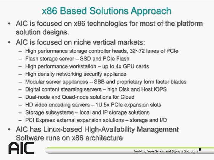 x86 Based Solutions Approach