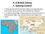 ii a british colony a gaining control