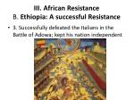 iii african resistance b ethiopia a successful resistance