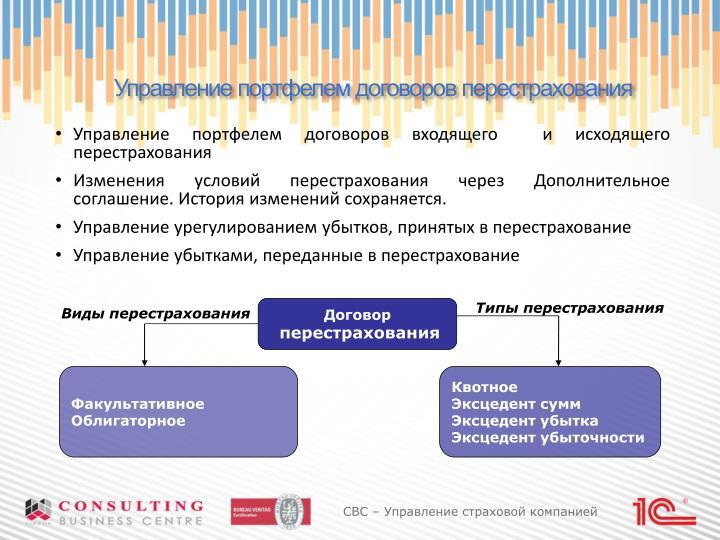 Управление портфелем договоров перестрахования