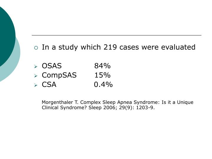 In a study which 219 cases were evaluated