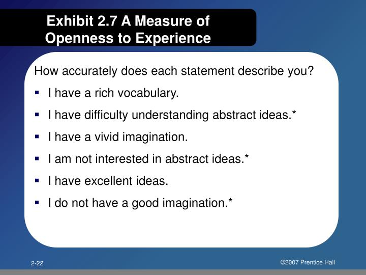 Exhibit 2.7 A Measure of Openness to Experience