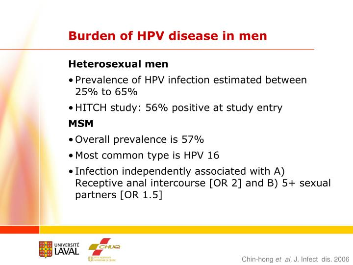 Burden of HPV disease in men