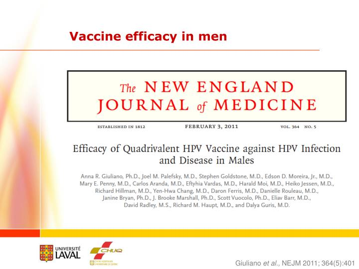 Vaccine efficacy in men